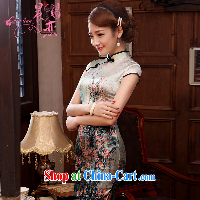Morning, heavy Silk Cheongsam dress sauna silk upscale summer short improved stylish retro light green XL