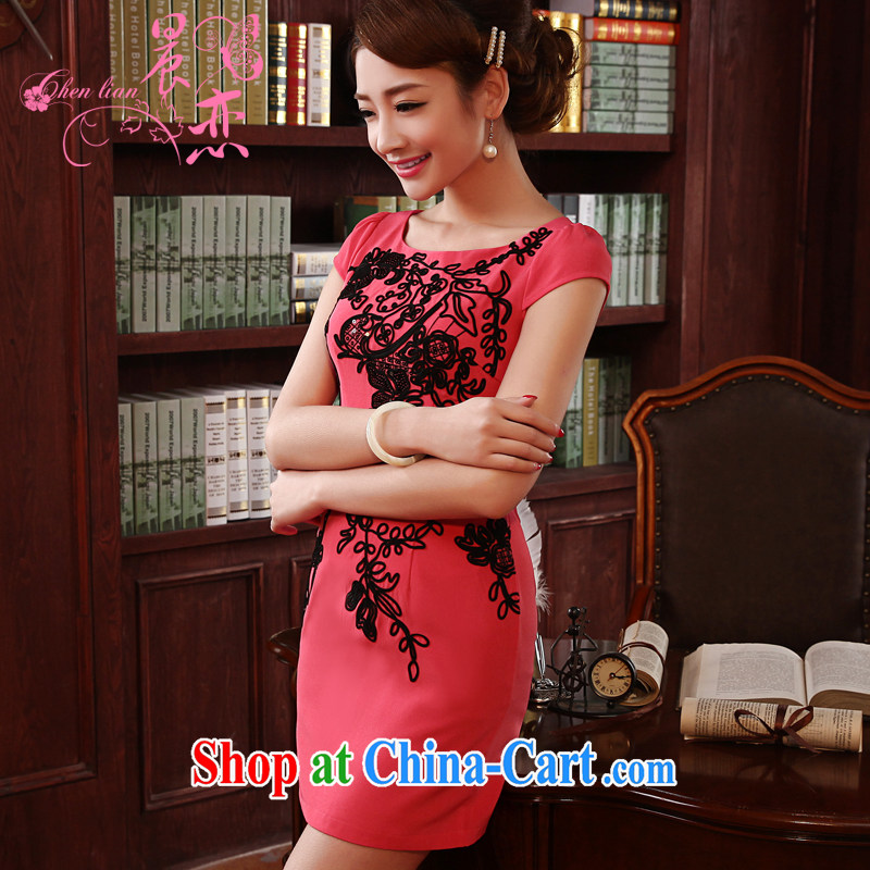 Morning, 2014 new spring fashion improved retro dresses daily short dresses vests skirts of the Red Cross Red XXL