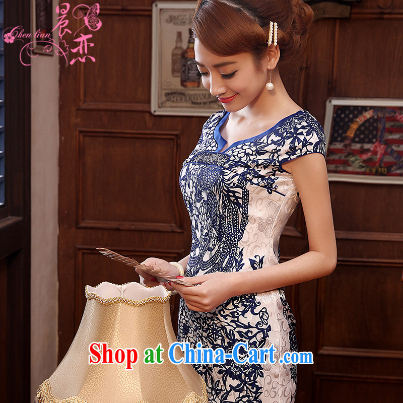 Morning love 2014 summer new improved stylish retro short cheongsam dress daily video thin blue and white porcelain blue blue XL
