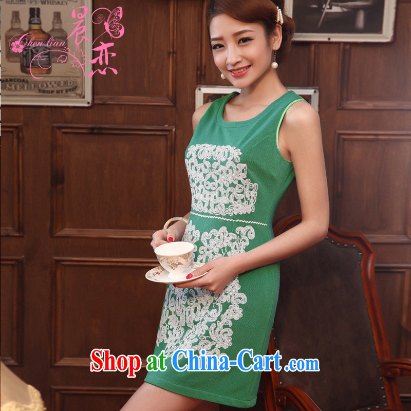 Morning, 2014 new spring fashion improved retro dresses daily short dress vest skirt green XXL