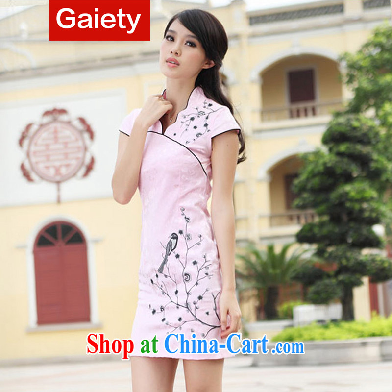 According Gaiety acajou (2014 summer new embroidery retro Women Fashion dresses sexy dresses female BS A 7 6903 # pink XL