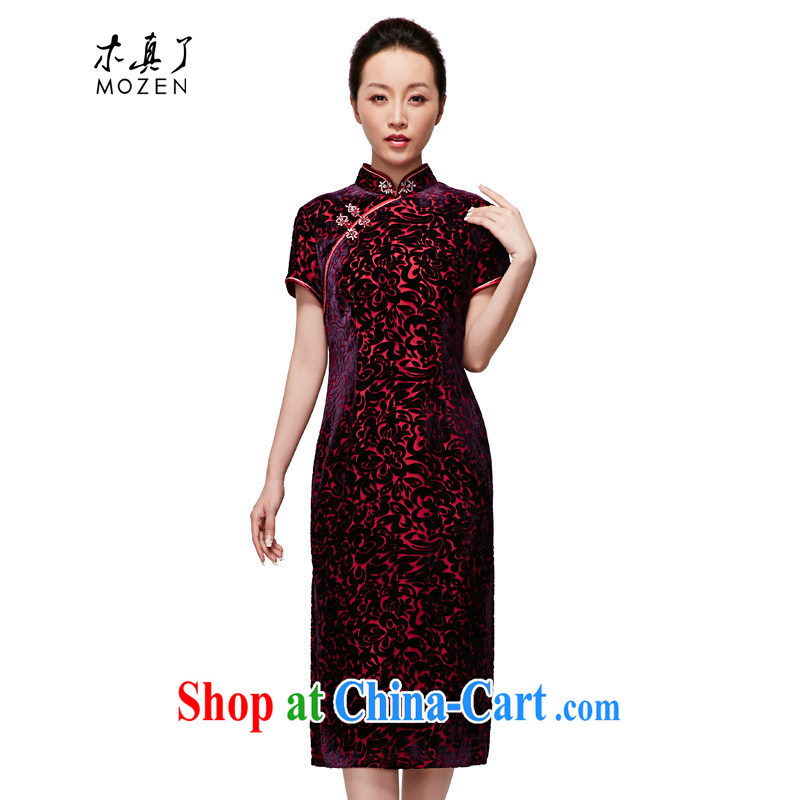 Wood is really a spring 2015 new female Chinese silk dresses, long elegant velvet dress mom with 21,835 16 deep purple XXXXL