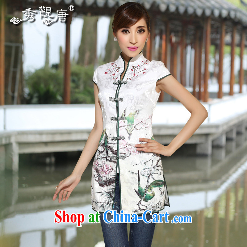 The CYD HO Kwun Tong) and log sticks summer 2015 new elegant Chinese shirt, embroidery ethnic wind Chinese Ma folder TD 4106 white M