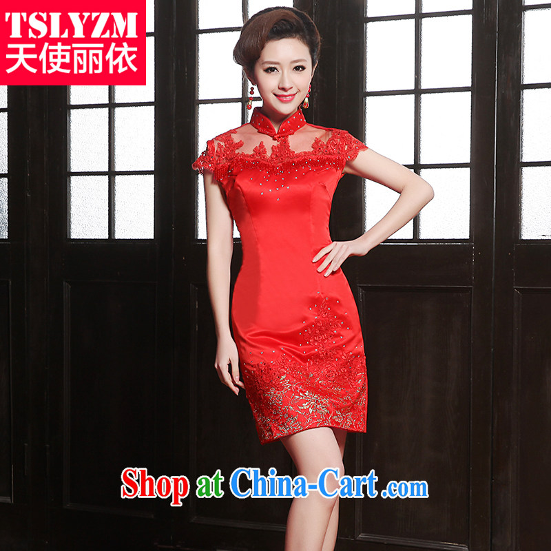 The angels, In 2014 spring and summer, summer sense of cheongsam dress lace bridal cheongsam dress retro beauty toasting Service Improvement wedding dress dress red M