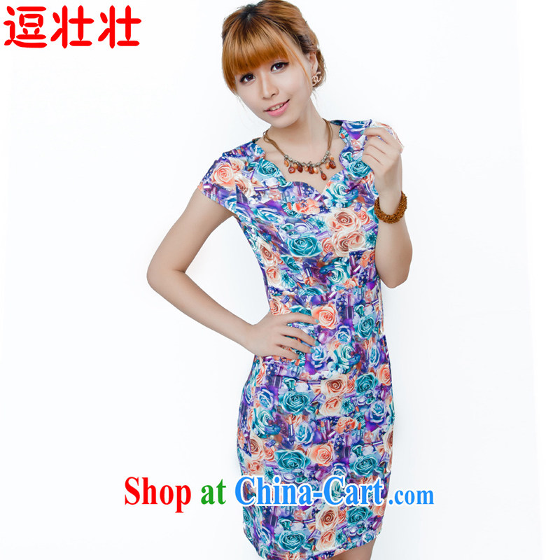 and Chuang Chuang 2015 summer milk, stamp antique dresses 9620 _coffee blue flower XL