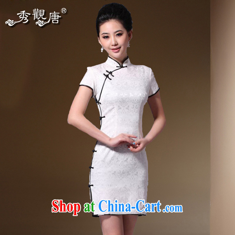 The CYD HO Kwun Tong Chinese impression 2015 classic retro style dresses beauty jacquard cotton improved China Daily cheongsam dress G 33,269 white M
