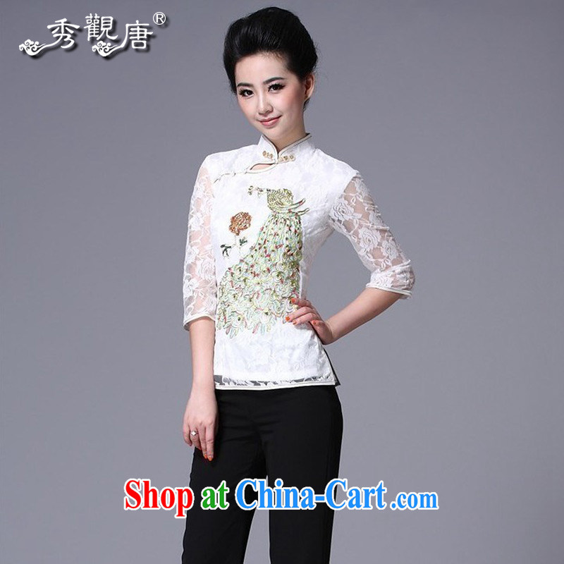 The CYD HO Kwun Tong' Peacock on display China wind spring, Ms. Tang in cuff lace Ethnic Wind, Ms. Tang fitted T-shirt G 12,197 white L