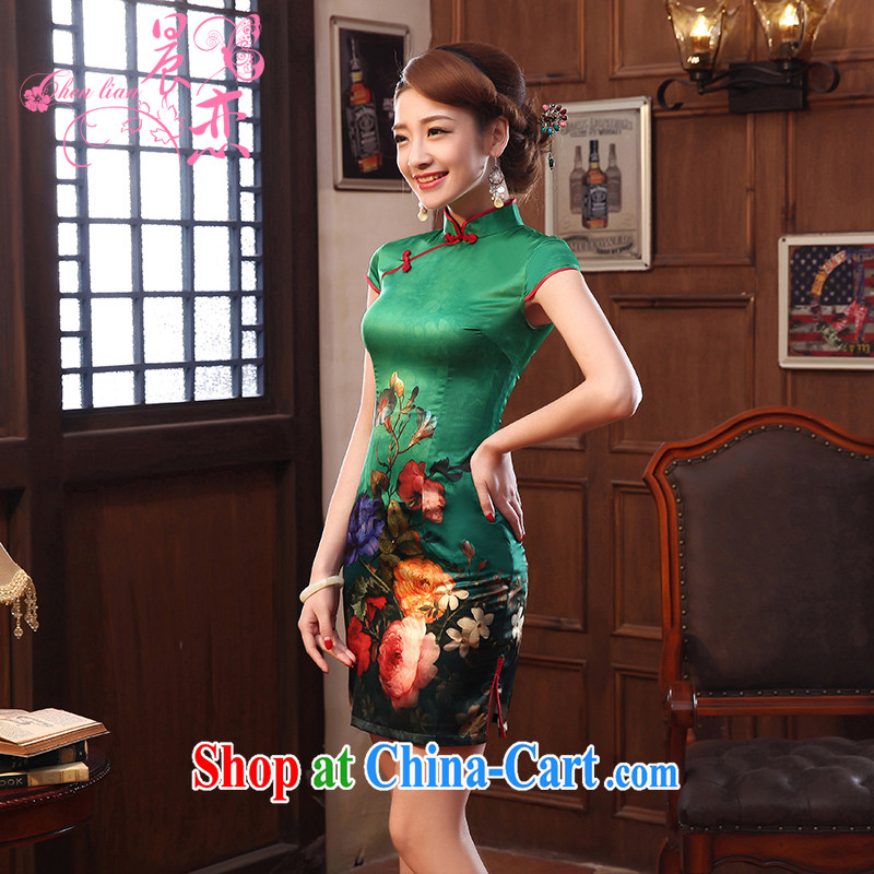 Morning, dresses new 2014 summer retro short improved stylish sauna silk silk Chinese qipao dress two-color green XL