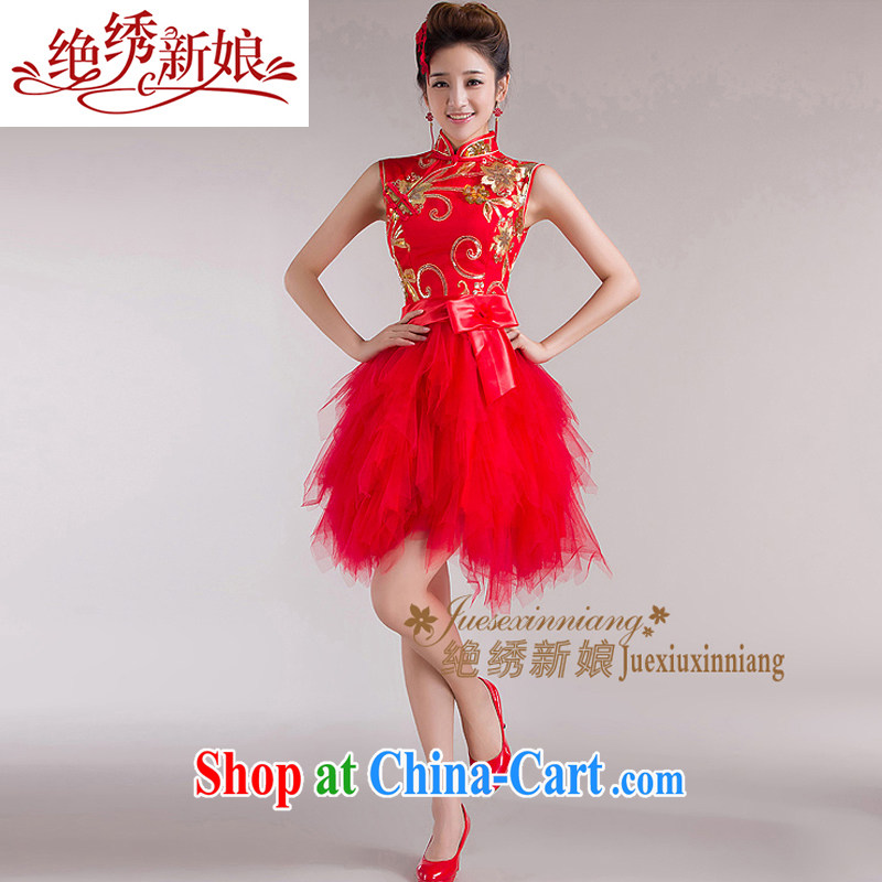 There is embroidery bridal red package shoulder lace short cheongsam shaggy cheongsam dress new marriages and stylish bows. Red XXL Suzhou shipping