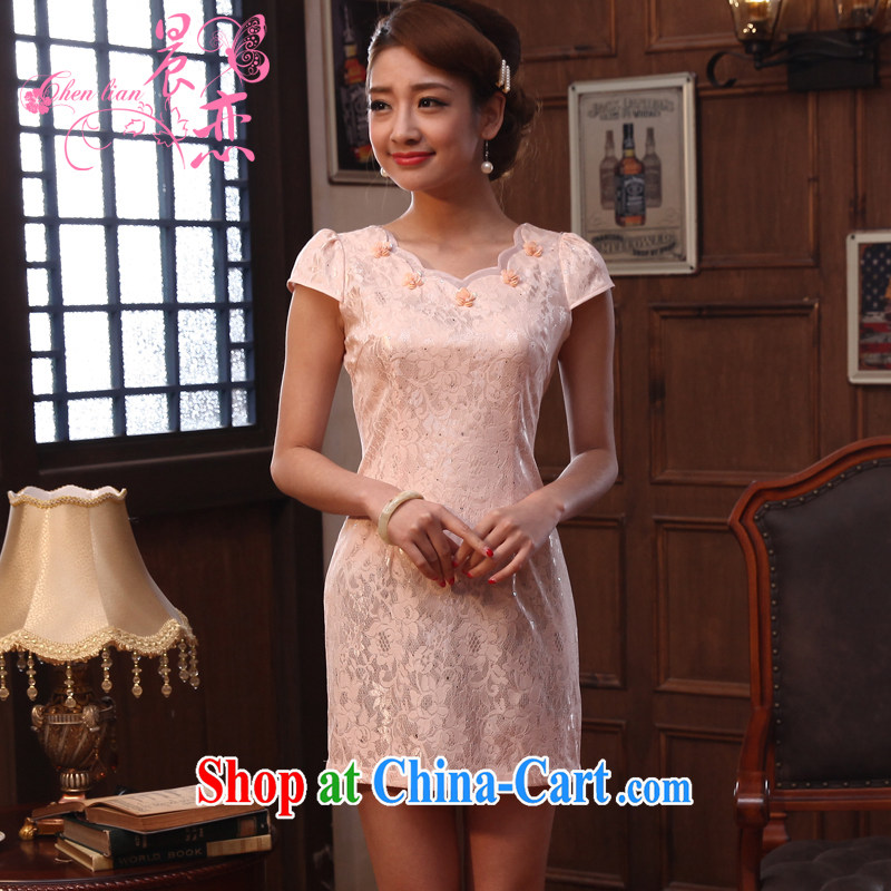 Morning love 2014 summer new improved stylish retro short cheongsam dress lace daily meat pink salmon color XL