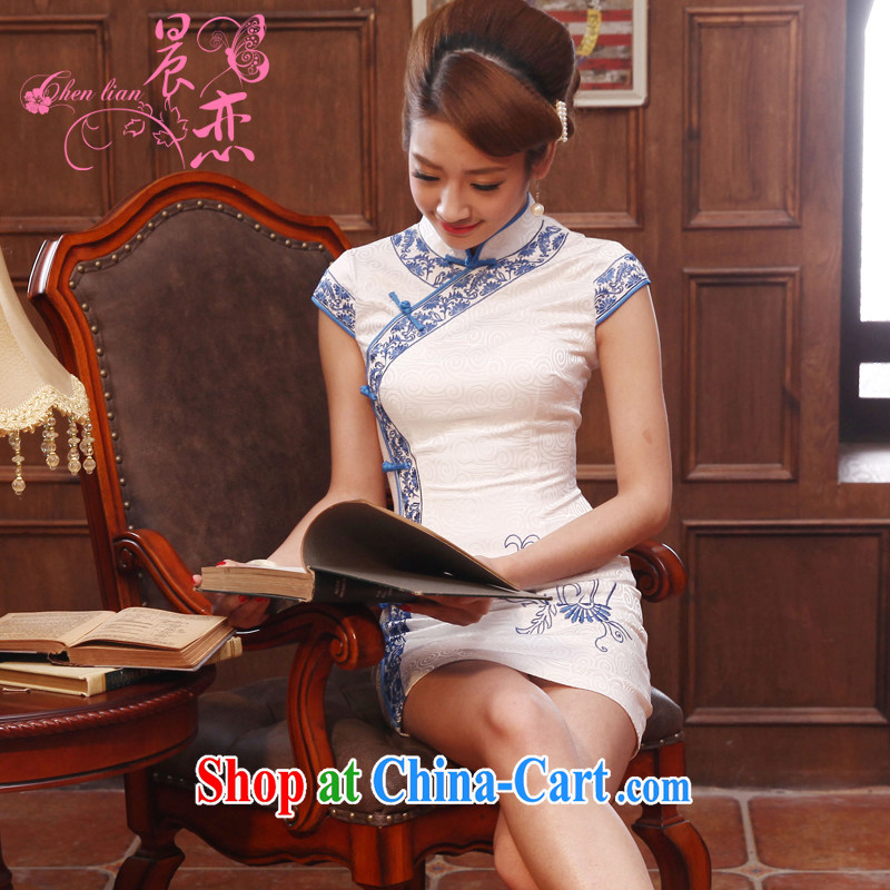 Morning love 2014 summer new stylish improved retro short cheongsam dress Chinese daily Black White Black XXL