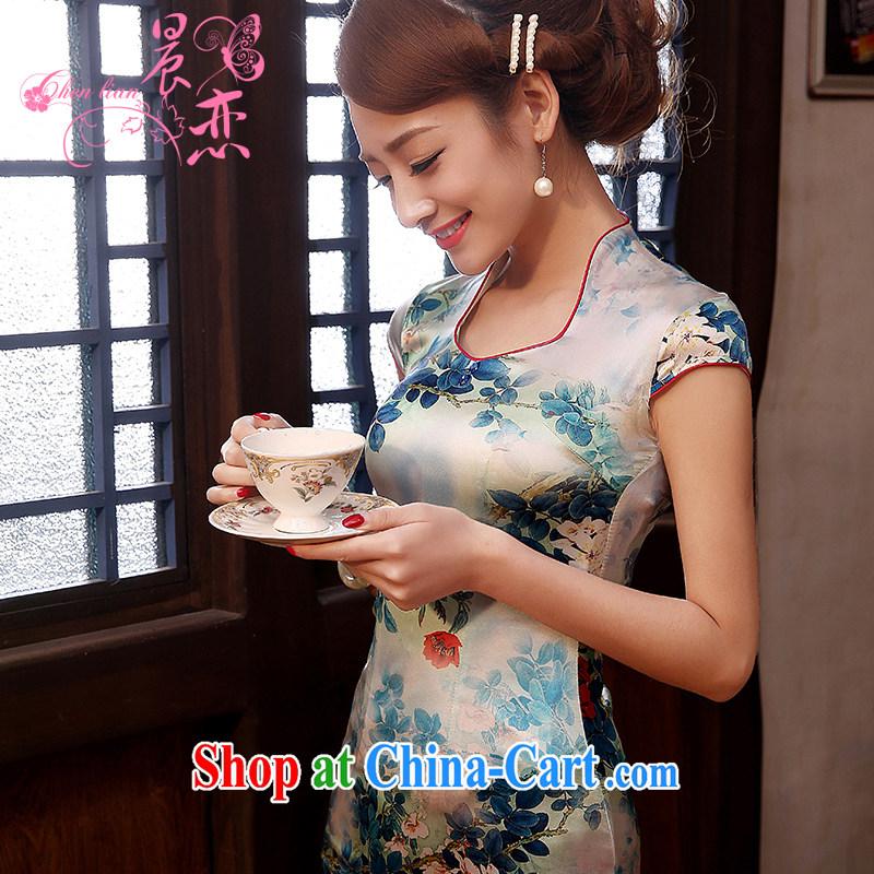 Morning, dresses new 2014 summer retro improved stylish sauna silk heavy Silk Cheongsam dress short, blue and light green XXL