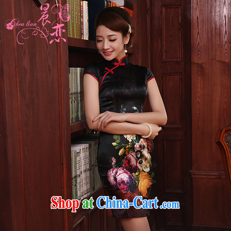 Morning, dresses new 2014 summer retro short-sleeved improved stylish sauna silk heavy Silk Cheongsam dress Ning, Jacob black XXL