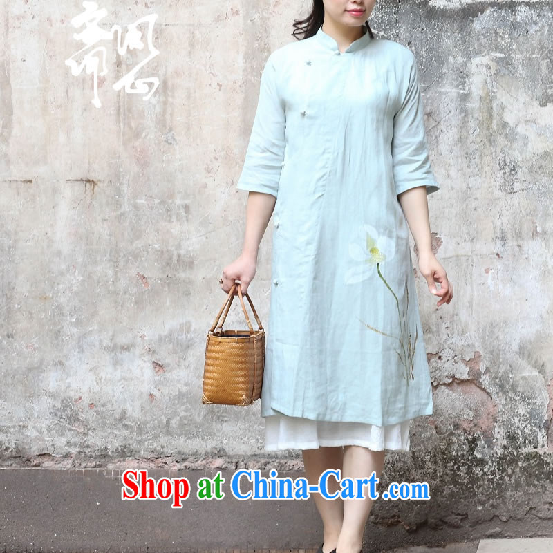 Asked about Ramadan and the elections as soon as possible and girls spring and summer new Chinese hand-painted cheongsam dress linen dresses hand-painted Lotus 1703 light blue shot 7 days M code brassieres 95 CM