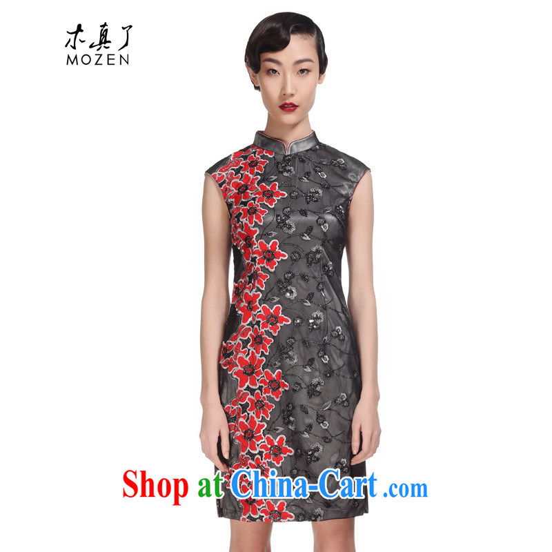 Wood is really the 2015 spring and summer new lace beauty short cheongsam Chinese dresses 21,816 01 black XXL