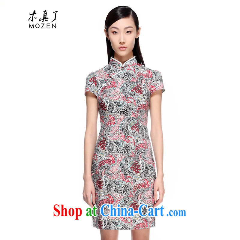 Wood is really the 2015 spring and summer new dresses Chinese Antique stamp short cheongsam girls package mail 11,439 01 black M