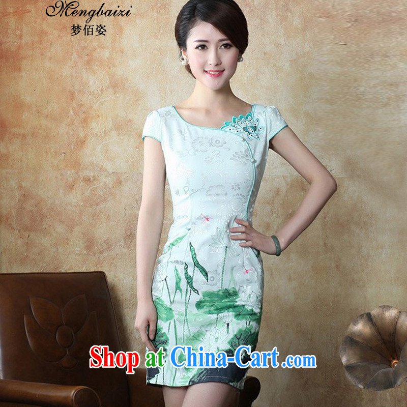 Let Bai beauty 2015 new female high-end ethnic wind and stylish Chinese qipao dress daily retro beauty graphics thin dresses female QP 101 #green L