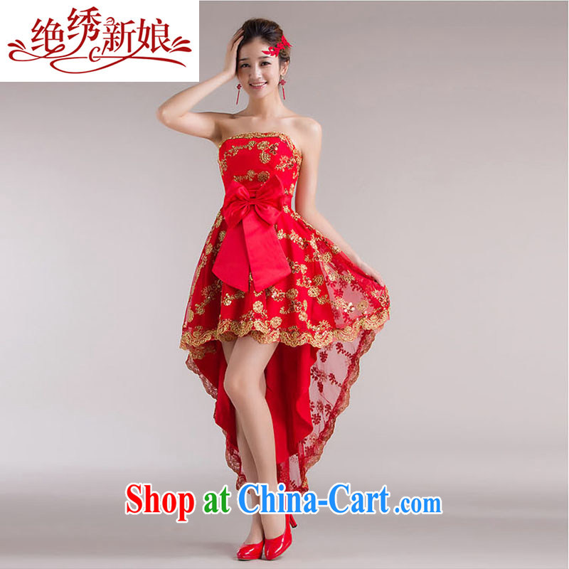 There is embroidery bridal 2014 new front short long cheongsam dress red bridal wedding dresses bows Service Bridal wedding dress QP - 338 tie, Suzhou XL shipping