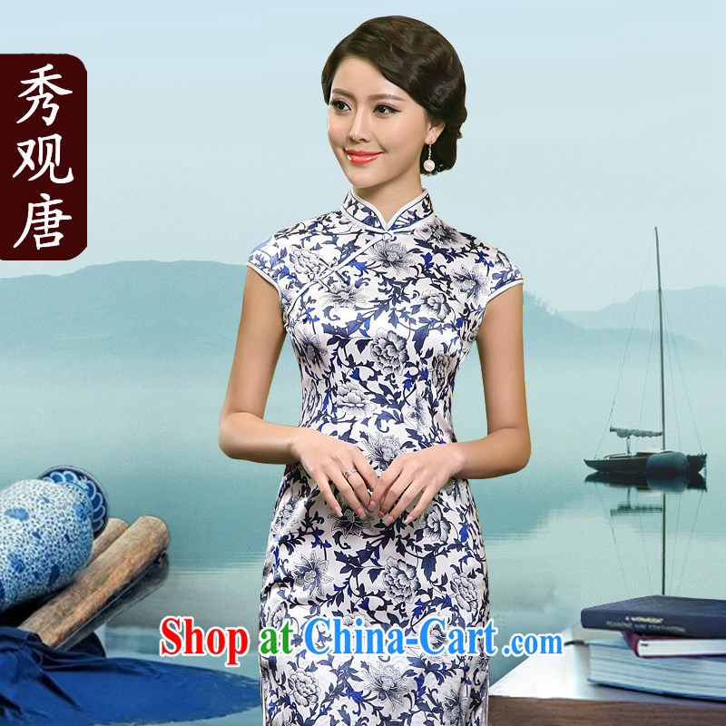 The CYD HO Kwun Tong' classic blue and white porcelain heavy Silk Cheongsam high 2015 summer beauty aura new retro dresses skirts G 81,158 picture color XL