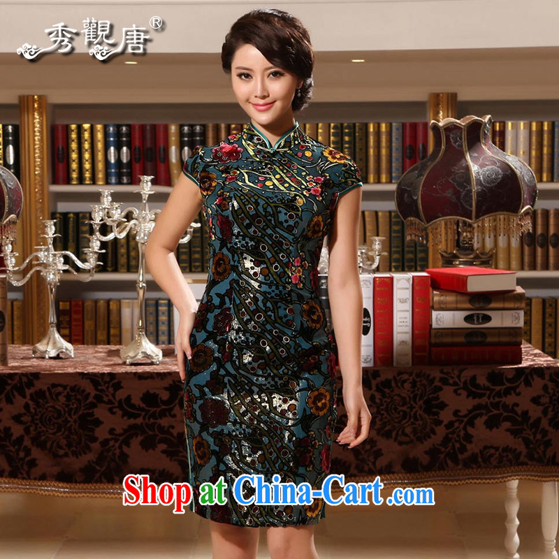 The CYD HO Kwun Tong Jin sticks Yuk-ip elegance upscale Silk Cheongsam retro summer sauna Silk Cheongsam dress G 13,869 picture color XXL