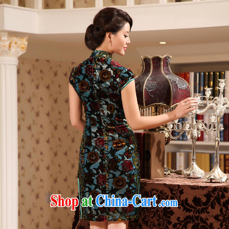 The CYD HO Kwun Tong Jin sticks, Jade elegance upscale Silk Cheongsam retro summer sauna Silk Cheongsam dress G 13,869 picture color XXL, Su-koon Tang, shopping on the Internet