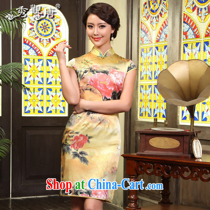 The CYD HO Kwun Tong' Silk Road Silk Cheongsam retro floral cheongsam upscale Silk Cheongsam dress G 71,177 picture color M