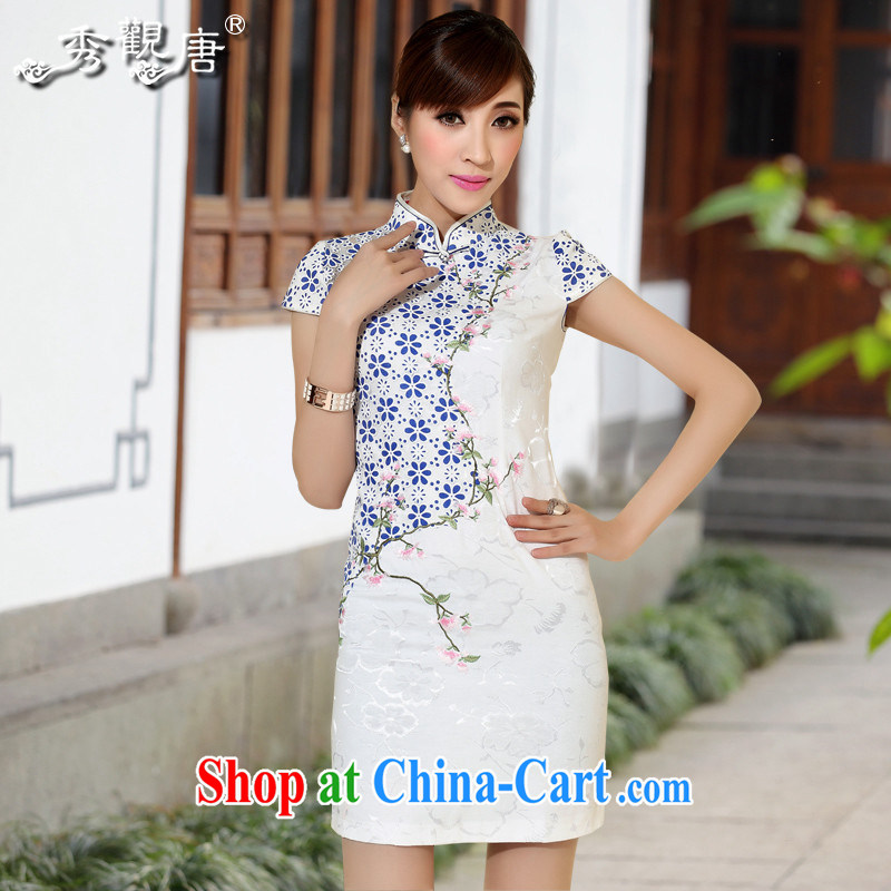 The CYD HO Kwun Tong' blue demon-hee summer 2014, retro style beauty dresses floral day Ms. cheongsam dress QD 4122 white XXL