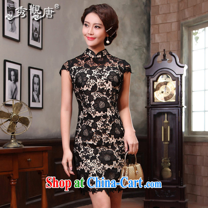 The CYD HO Kwun Tong' black temptation 2015 summer lace cheongsam improved stylish women's clothing retro dresses G 13,421 black XL