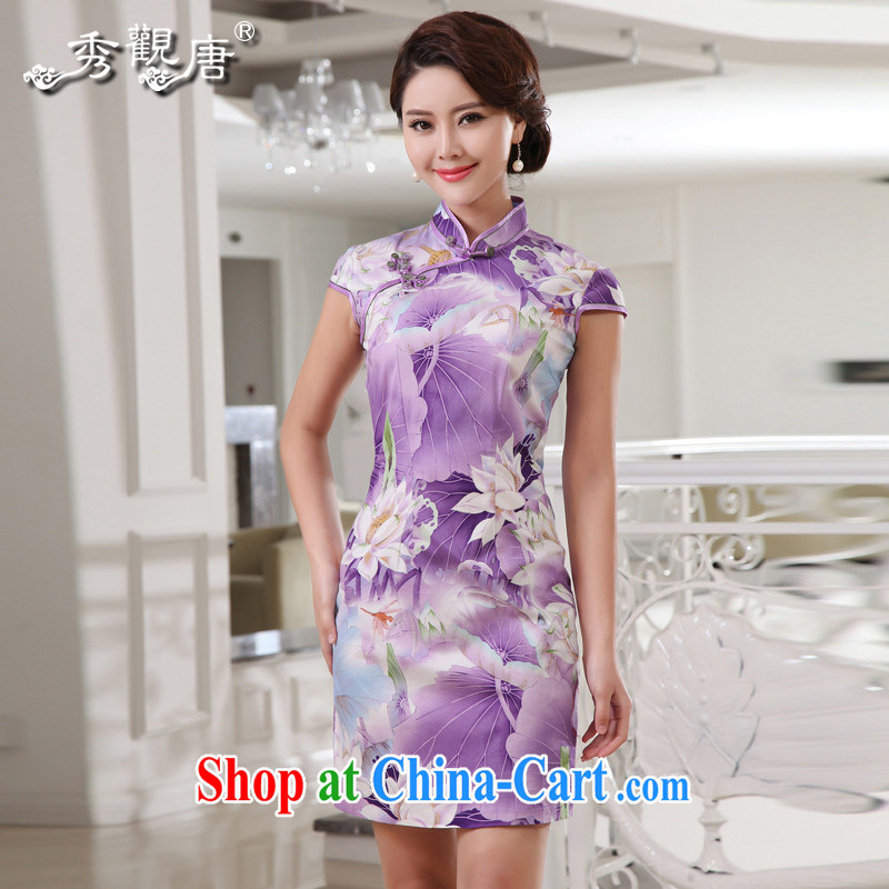 The CYD HO Kwun Tong' Lotus and sexy beauty dresses retro fashion summer 2015 new cotton cheongsam dress G 13,881 purple S