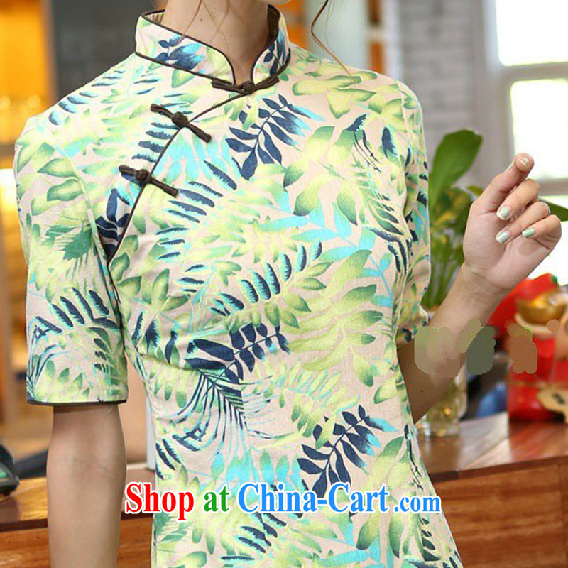 Jessup, 2015 spring and summer China wind female cotton leaves the Commission take the lead hand and knee long cheongsam CQM 648 shade, for XXL, Jessup, and shopping on the Internet