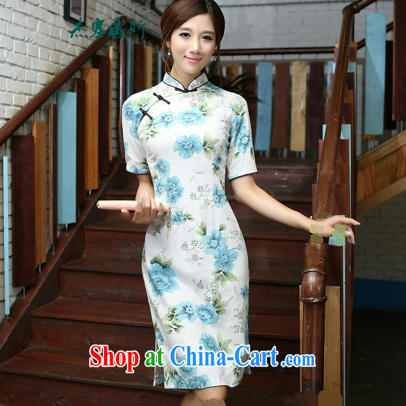 Jessup, 2015 spring and summer new Ethnic Wind and for cultivating manually buckle long improved stylish cotton the dresses qipao COL 544�blue Peony, for M