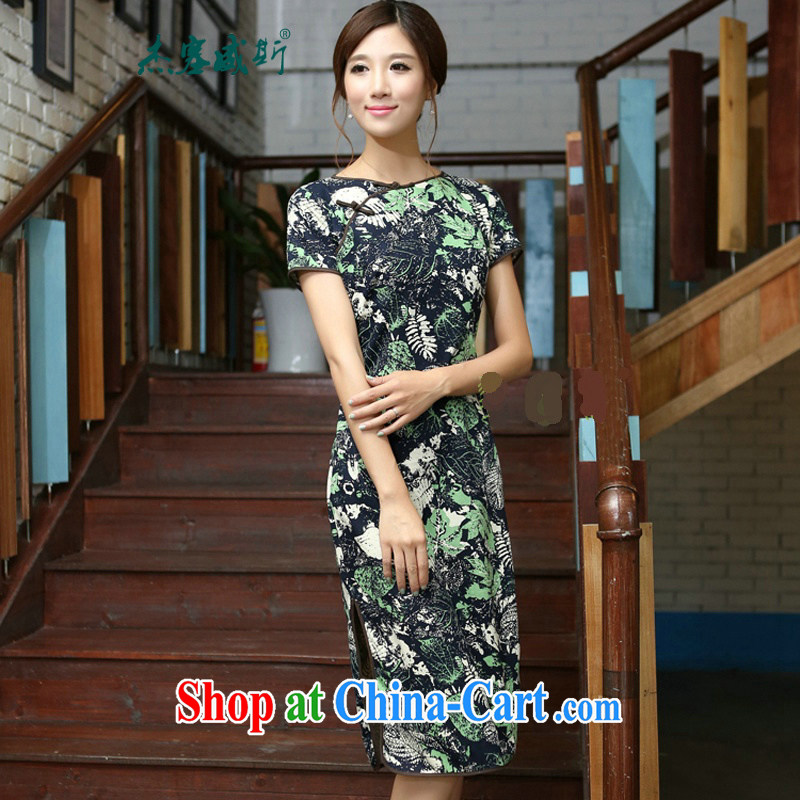 Jessup, 2015 spring and summer New China wind female cotton twist the collar manual and knee, long dresses qipao CMA 408 as shown XL