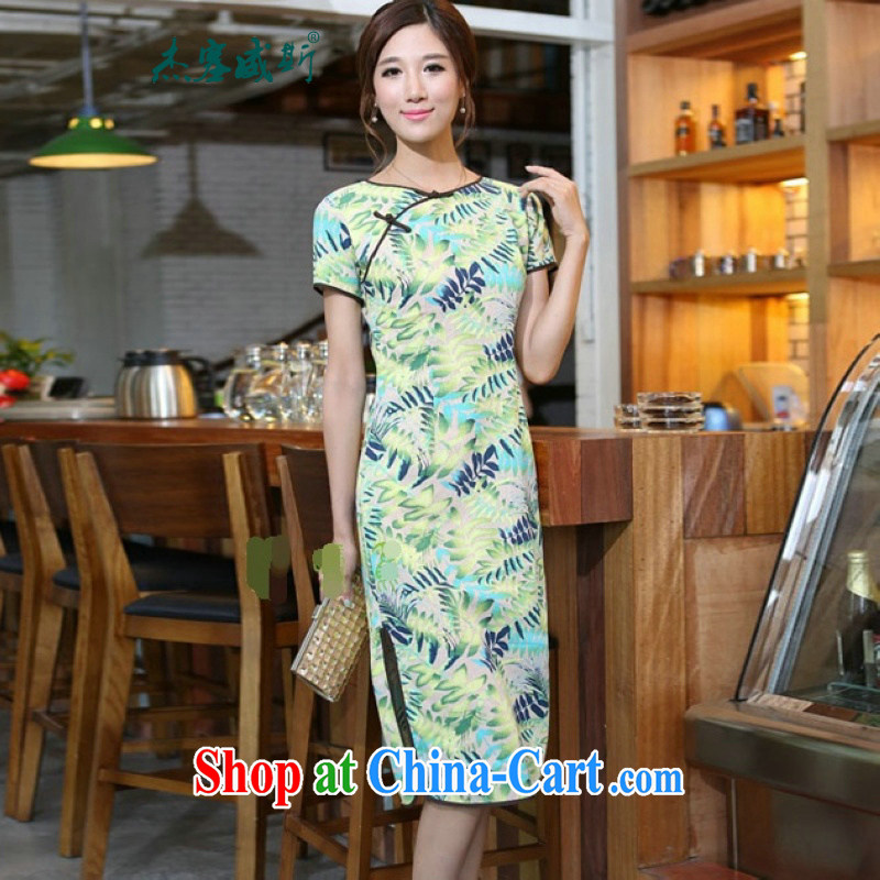 Jessup, 2015 spring and summer new female Chinese wind cotton leaves the Commission take the lead hand and knee long dresses qipao CNU 581 figure XXL