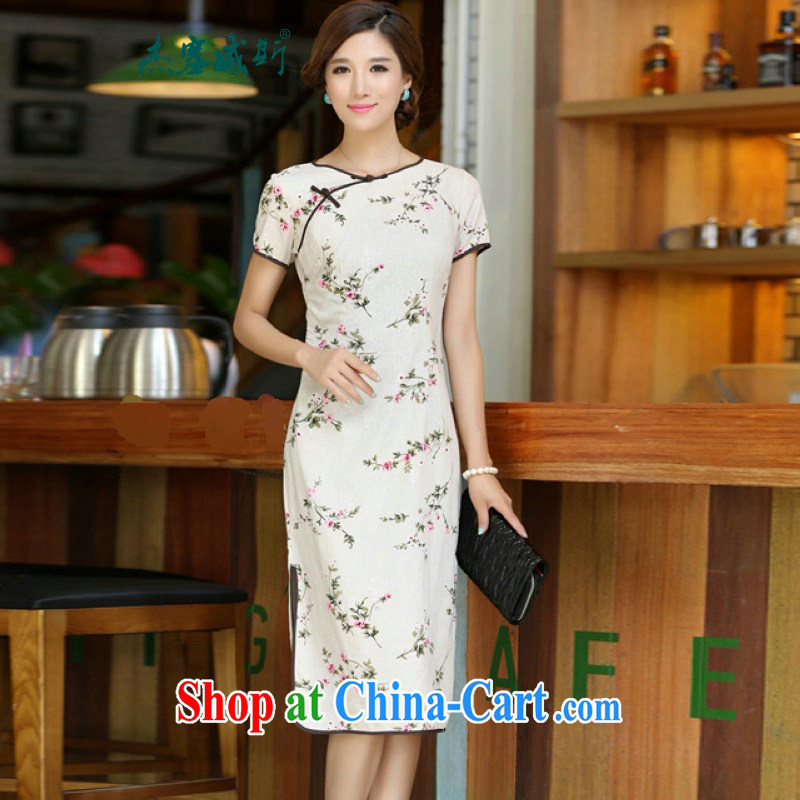 Jessup, 2015 spring and summer new female national round-collar, long, cultivating manual for improved stylish linen dresses qipao CKK 438 figure XXL