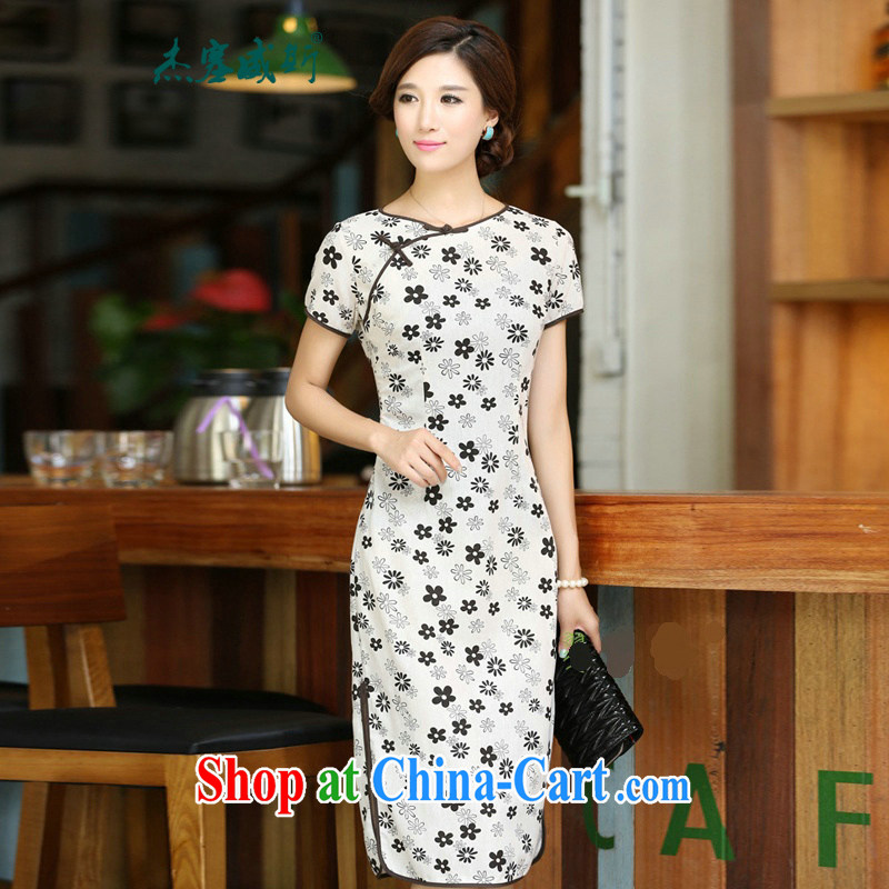 Jessup, 2015 spring and summer female flowers with round collar beauty manual buckle long improved linen dresses qipao CHD 213 figure M
