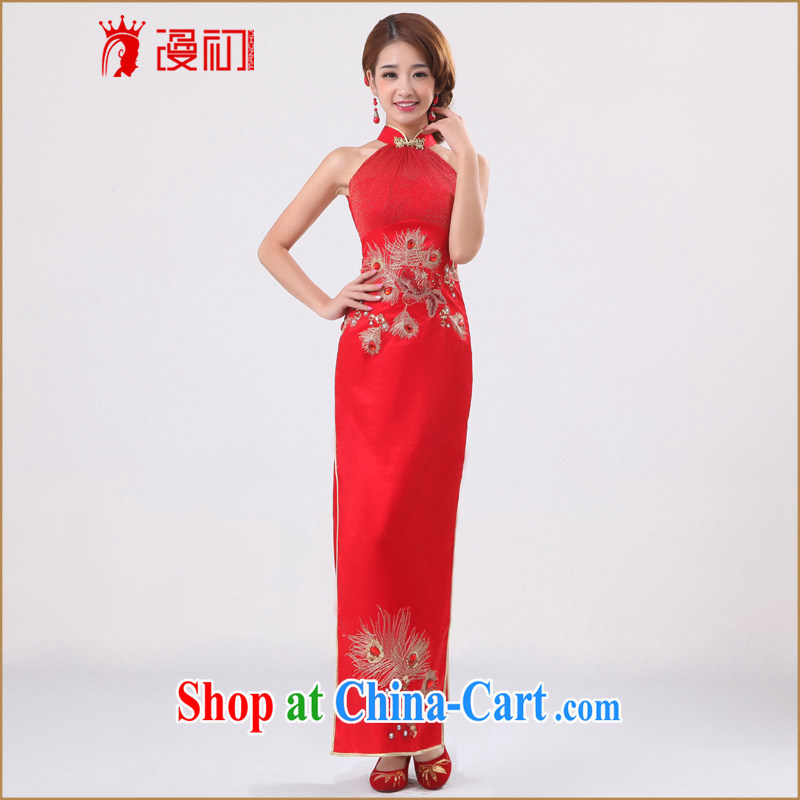 Early definition 2015 new bride antique dresses long high on the truck classic wedding dresses serving toast red L