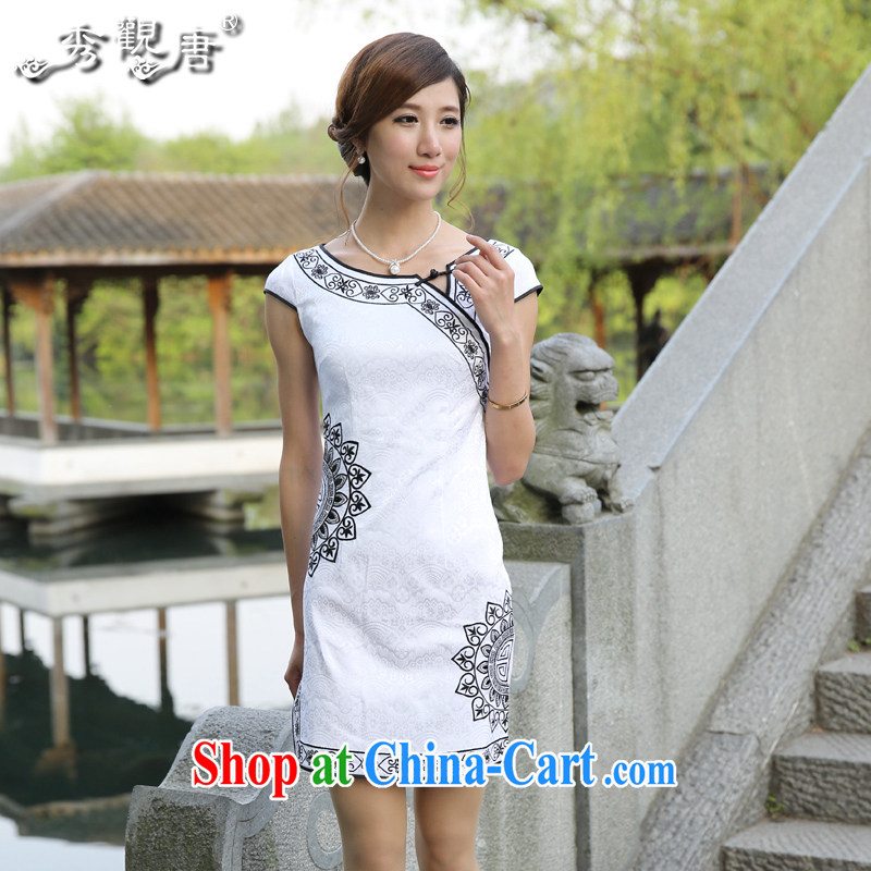 The CYD HO Kwun Tong' Sun Flower 2015 summer improved cotton robes fashion sense of ethnic wind cheongsam dress G 13,516 white M