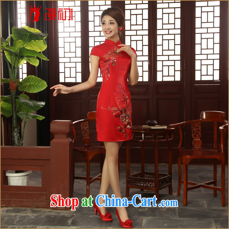 Early definition 2015 new improved stylish dresses bridal short cheongsam wedding bridesmaid dresses serving toast red L