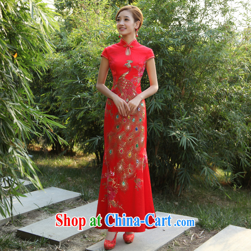 Diffuse early marriages improved cheongsam dress 2015 New Long cheongsam retro crowsfoot long cheongsam red L
