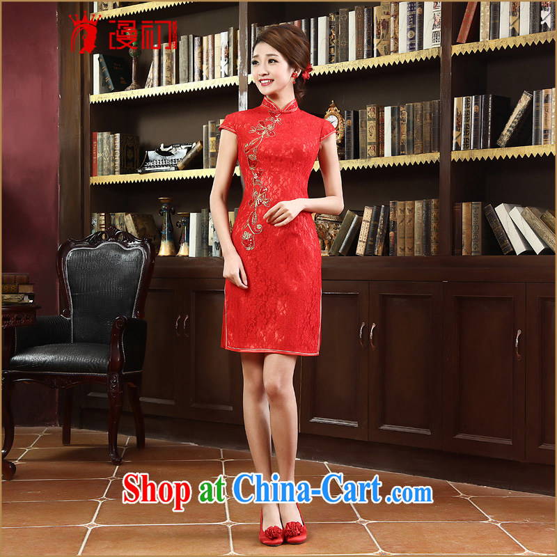 Early definition 2015 New red retro dresses short improved stylish lace dresses bridal toast serving red L