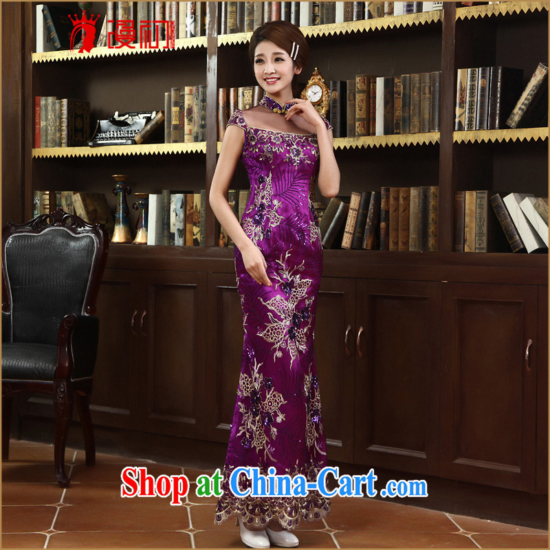 Early definition 2015 new stylish and improved cheongsam dress bride wedding toast, long cheongsam crowsfoot cheongsam dress purple S