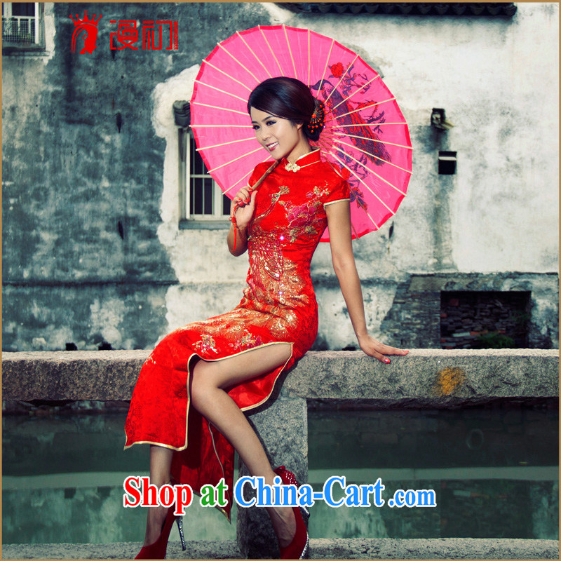 Early definition 2015 new bride retro improved cheongsam long high on the truck classic wedding toast serving red L