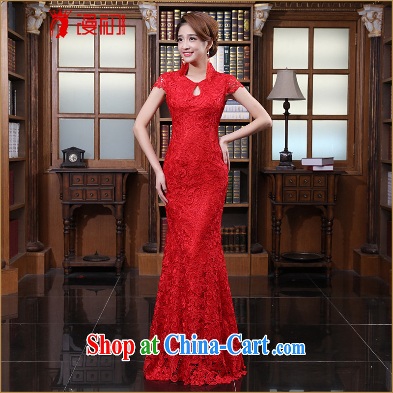 Early definition 2015 new water-soluble lace stylish wedding red toast wedding service long cheongsam dress red XL