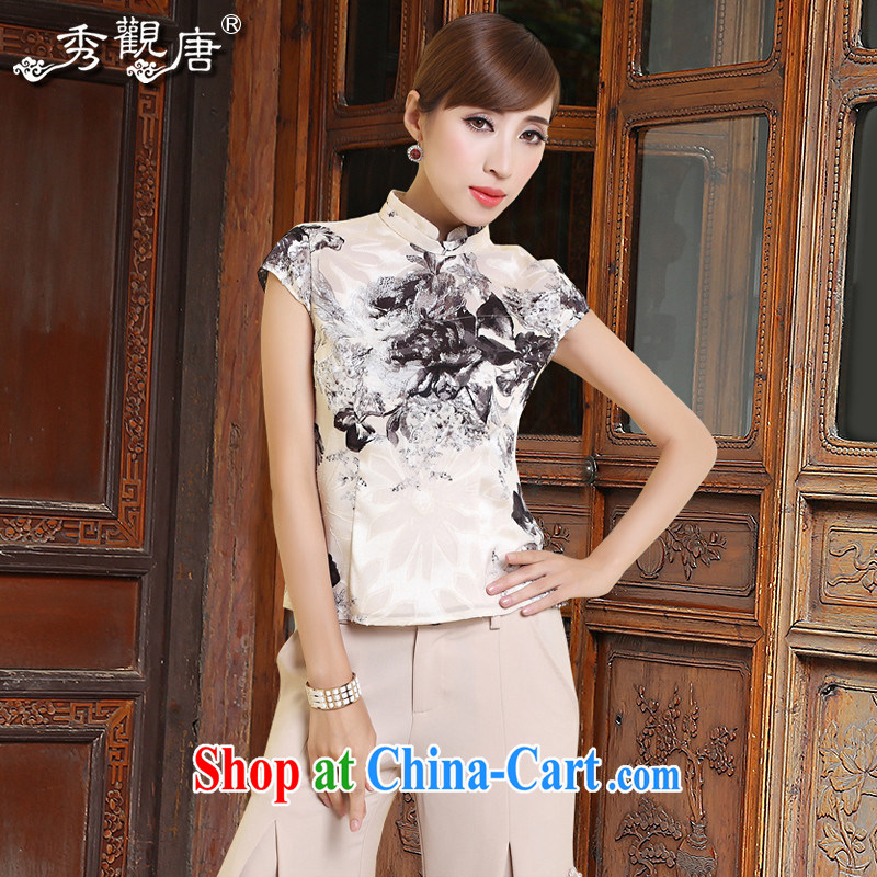 The CYD HO Kwun Tong) deplored the 2015 summer Women's clothes Chinese Ethnic Wind Chinese qipao Ms. shirt TD 4308 white XXL