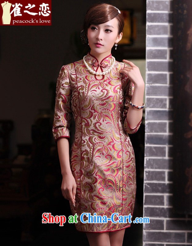 Birds love the glass 2015 spring new women's clothing cheongsam dress silk tapestries the improved cheongsam-dresses QC 433 fancy S
