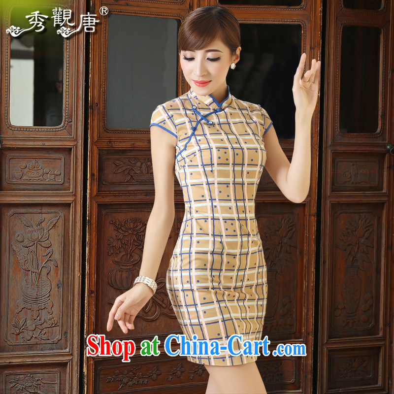 The CYD HO Kwun Tong' Park Emily 2015 summer tartan Korea outfit New retro Sau San cheongsam dress QD 4312 coffee XXL
