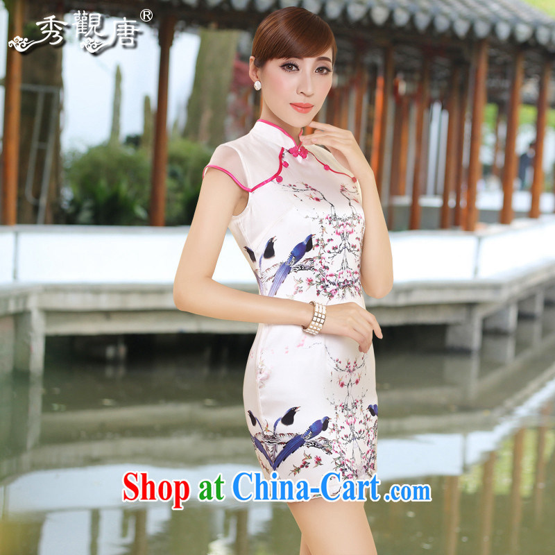 The CYD HO Kwun Tong_ and high standard of antique Silk Cheongsam beauty hand-tie retro dresses silk QD 4310 white XL