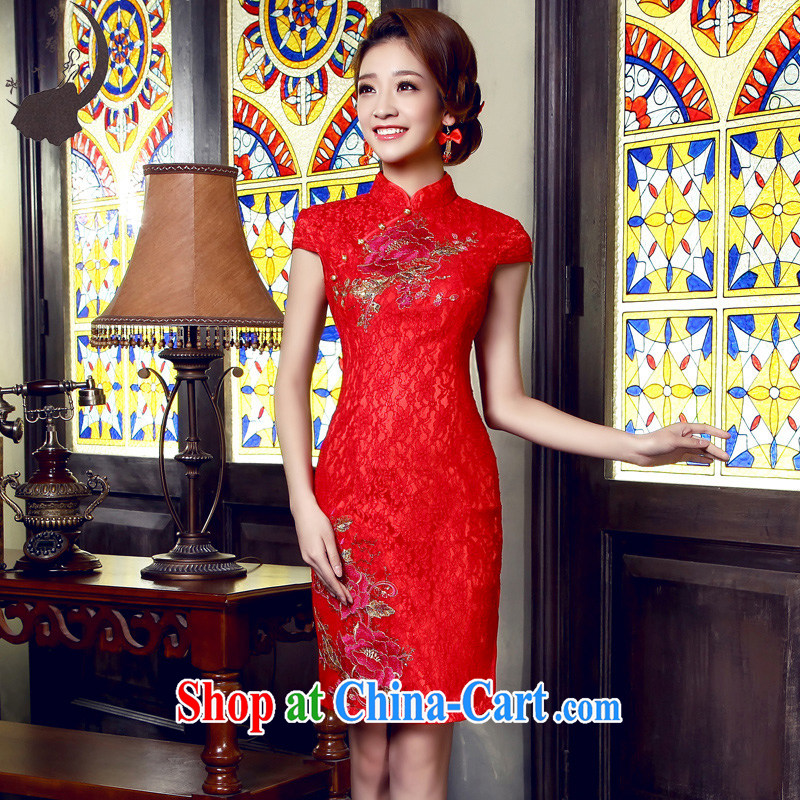 Dream of the day 2015 Chinese improved summer cheongsam dress in short, short, short-sleeved bridal wedding bridal dresses skirts Q 5522 red XL 2.2 feet waist