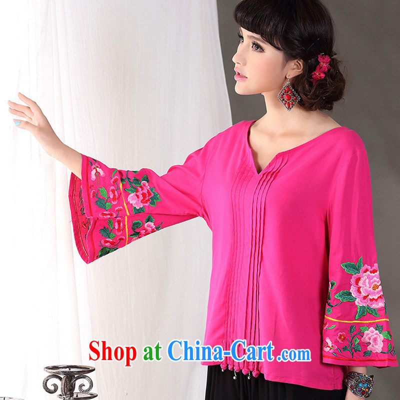 Cheng Kejie, Wiesbaden, 2015 spring and summer new female Chinese style ethnic style V collar horn 8 cuff embroidered cotton Ma T-shirt shirt Chinese CVJ of 838 red XL, Jessup, and shopping on the Internet
