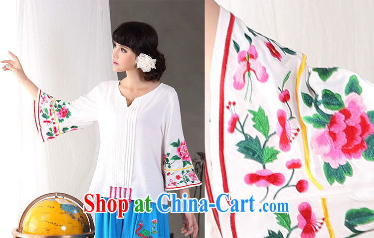 Cheng Kejie, Wiesbaden, 2015 spring and summer new female Chinese style ethnic style V collar horn 8 cuff embroidered cotton Ma T-shirt shirt Tang replace CVJ of 838 red XL pictures, price, brand platters! Elections are good character, the national distribution, so why buy now enjoy more preferential! Health